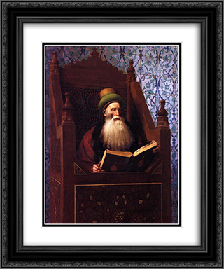 Mufti Reading in His Prayer Stool 20x24 Black or Gold Ornate Framed and Double Matted Art Print by Jean Leon Gerome
