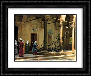 Harem Women Feeding Pigeons in a Courtyard 24x20 Black or Gold Ornate Framed and Double Matted Art Print by Jean Leon Gerome