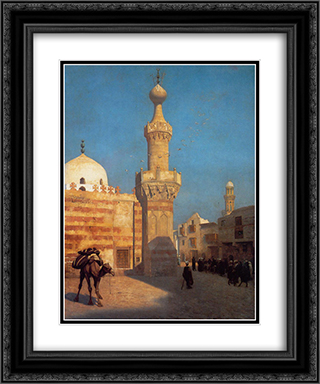 View of Cairo 20x24 Black or Gold Ornate Framed and Double Matted Art Print by Jean Leon Gerome