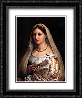 La Donna Velata 20x24 Black or Gold Ornate Framed and Double Matted Art Print by Raphael