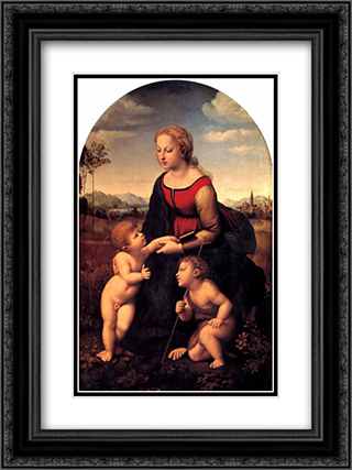 La Belle Jardiniere 18x24 Black or Gold Ornate Framed and Double Matted Art Print by Raphael