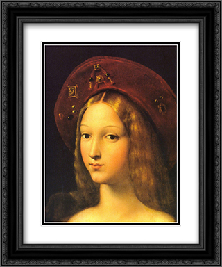 Joanna of Aragon [detail] 20x24 Black or Gold Ornate Framed and Double Matted Art Print by Raphael