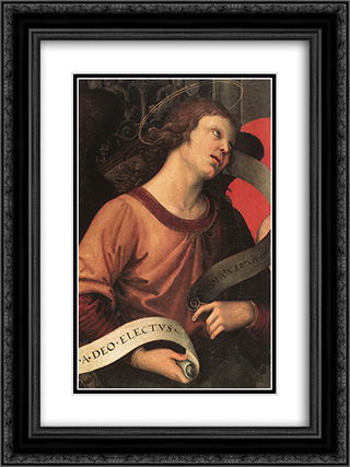 Angel (fragment of the Baronci Altarpiece) 18x24 Black or Gold Ornate Framed and Double Matted Art Print by Raphael