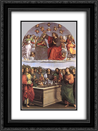 The Crowning of the Virgin (Oddi altar) 18x24 Black or Gold Ornate Framed and Double Matted Art Print by Raphael