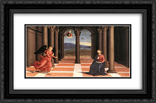 The Annunciation (Oddi altar, predella) 24x16 Black or Gold Ornate Framed and Double Matted Art Print by Raphael