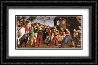 The Adoration of the Magi (Oddi altar) 24x16 Black or Gold Ornate Framed and Double Matted Art Print by Raphael
