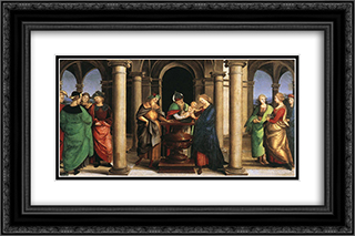 The Presentation in the Temple (Oddi altar, predella) 24x16 Black or Gold Ornate Framed and Double Matted Art Print by Raphael