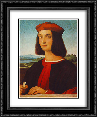 Portrait of Pietro Bembo 20x24 Black or Gold Ornate Framed and Double Matted Art Print by Raphael