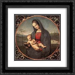 Madonna with the Book 20x20 Black or Gold Ornate Framed and Double Matted Art Print by Raphael