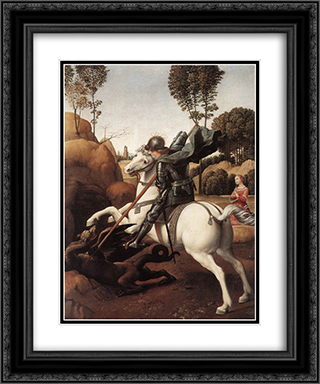 St George and the Dragon 20x24 Black or Gold Ornate Framed and Double Matted Art Print by Raphael