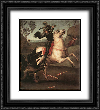 St George Fighting the Dragon 20x22 Black or Gold Ornate Framed and Double Matted Art Print by Raphael
