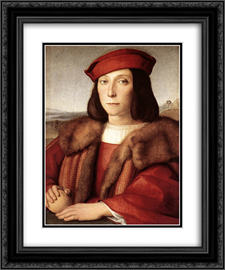 Young Man with an Apple 20x24 Black or Gold Ornate Framed and Double Matted Art Print by Raphael