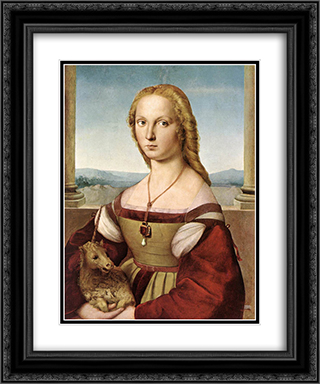 Lady with a Unicorn 20x24 Black or Gold Ornate Framed and Double Matted Art Print by Raphael