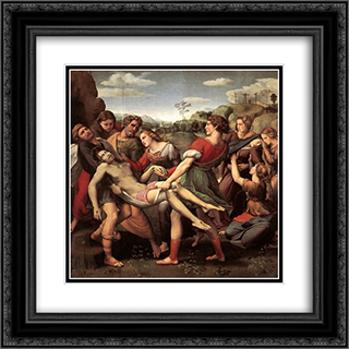 The Entombment 20x20 Black or Gold Ornate Framed and Double Matted Art Print by Raphael