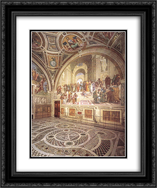 View of the Stanza della Segnatura 20x24 Black or Gold Ornate Framed and Double Matted Art Print by Raphael