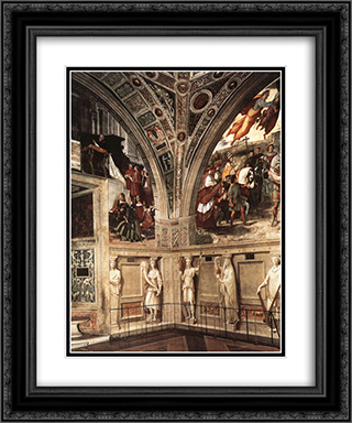 View of the Stanza di Eliodoro 20x24 Black or Gold Ornate Framed and Double Matted Art Print by Raphael