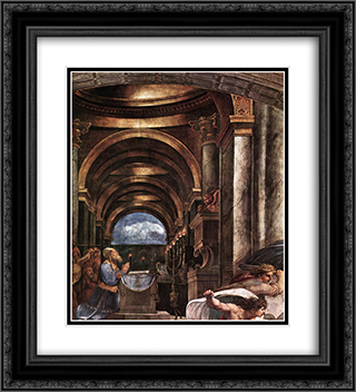 The Expulsion of Heliodorus from the Temple [detail: 2] 20x22 Black or Gold Ornate Framed and Double Matted Art Print by Raphael