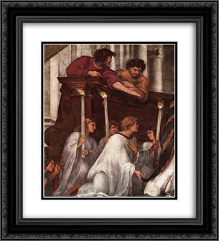 The Mass at Bolsena [detail: 1] 20x22 Black or Gold Ornate Framed and Double Matted Art Print by Raphael