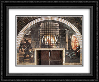 The Liberation of St Peter 24x20 Black or Gold Ornate Framed and Double Matted Art Print by Raphael