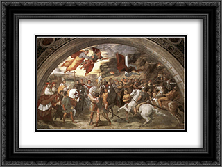 The Meeting between Leo the Great and Attila 24x18 Black or Gold Ornate Framed and Double Matted Art Print by Raphael