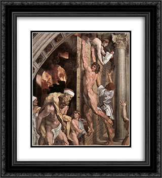 The Fire in the Borgo [detail: 1] 20x22 Black or Gold Ornate Framed and Double Matted Art Print by Raphael