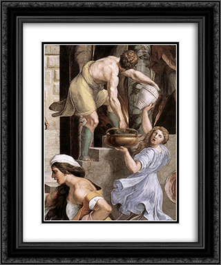 The Fire in the Borgo [detail: 2] 20x24 Black or Gold Ornate Framed and Double Matted Art Print by Raphael