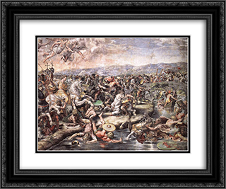 The Battle at Pons Milvius [detail: 1] 24x20 Black or Gold Ornate Framed and Double Matted Art Print by Raphael