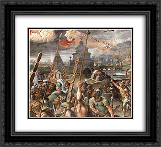 Vision of the Cross [detail: 1] 22x20 Black or Gold Ornate Framed and Double Matted Art Print by Raphael