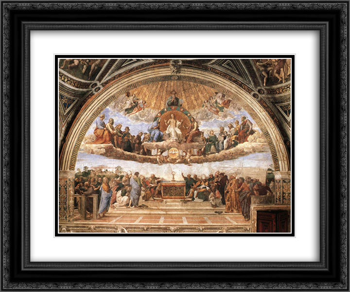 Disputation of the Holy Sacrament (La Disputa) 24x20 Black or Gold Ornate Framed and Double Matted Art Print by Raphael