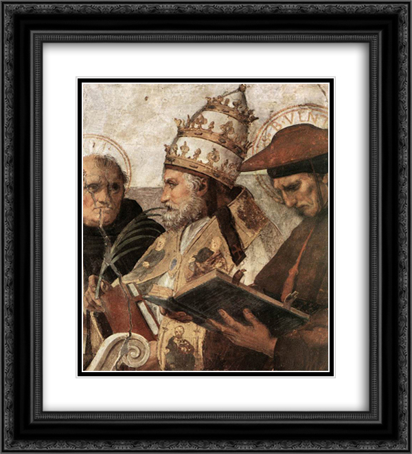 Disputation of the Holy Sacrament (La Disputa) [detail: 8] 20x22 Black or Gold Ornate Framed and Double Matted Art Print by Raphael