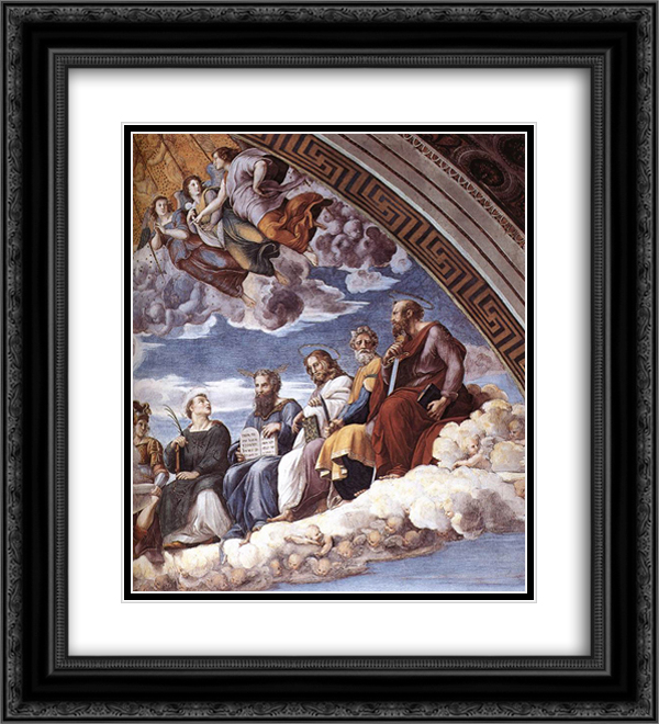 Disputation of the Holy Sacrament (La Disputa) [detail: 10] 20x22 Black or Gold Ornate Framed and Double Matted Art Print by Raphael