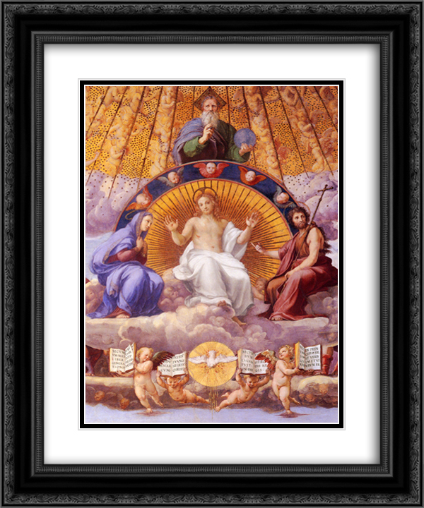 Disputation of the Holy Sacrament (La Disputa): Christ Glorified [detail: 1] 20x24 Black or Gold Ornate Framed and Double Matted Art Print by Raphael