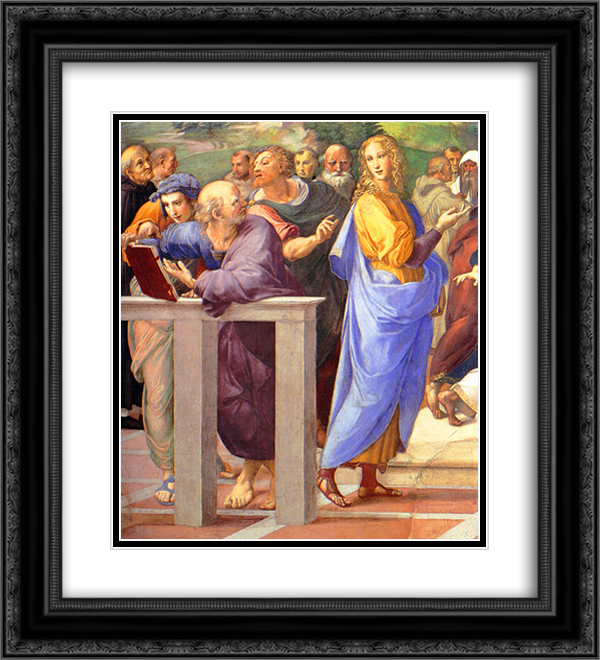 Disputation of the Holy Sacrament (La Disputa) [detail: 10a] 20x22 Black or Gold Ornate Framed and Double Matted Art Print by Raphael