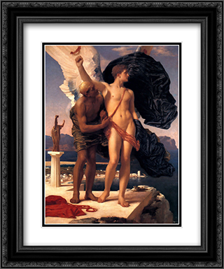 Daedalus and Icarus 20x24 Black or Gold Ornate Framed and Double Matted Art Print by Frederic Leighton