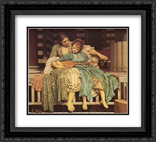 Music Lesson 22x20 Black or Gold Ornate Framed and Double Matted Art Print by Frederic Leighton