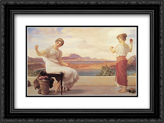 Winding the Skein 24x18 Black or Gold Ornate Framed and Double Matted Art Print by Frederic Leighton