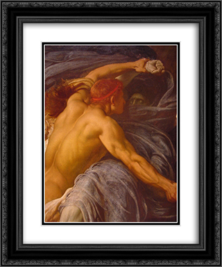 Hercules Wrestling with Death for the Body of Alcestis [detail #1] 20x24 Black or Gold Ornate Framed and Double Matted Art Print by Frederic Leighton