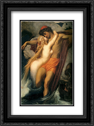 The Fisherman and the Syren 18x24 Black or Gold Ornate Framed and Double Matted Art Print by Frederic Leighton