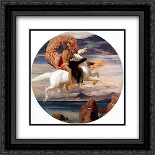 Perseus on Pegasus Hastening to the Rescue of Andromeda 20x20 Black or Gold Ornate Framed and Double Matted Art Print by Frederic Leighton