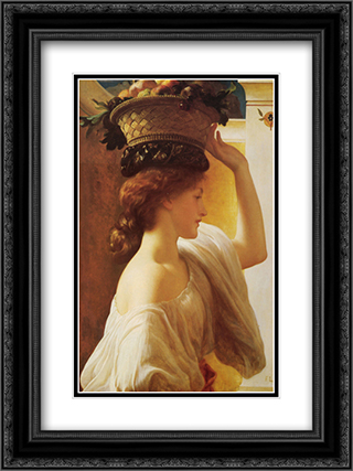 Eucharis - A Girl with a Basket of Fruit 18x24 Black or Gold Ornate Framed and Double Matted Art Print by Frederic Leighton