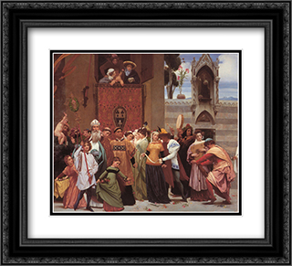 Cimabue's Celebrated Madonna [detail: left] 22x20 Black or Gold Ornate Framed and Double Matted Art Print by Frederic Leighton