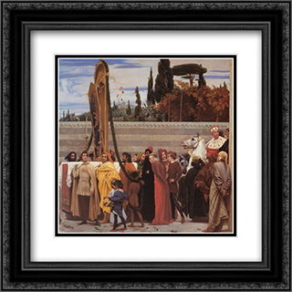 Cimabue's Celebrated Madonna [detail: right] 20x20 Black or Gold Ornate Framed and Double Matted Art Print by Frederic Leighton