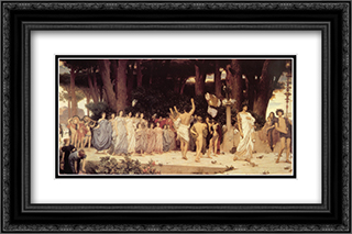 The Daphnephoria 24x16 Black or Gold Ornate Framed and Double Matted Art Print by Frederic Leighton