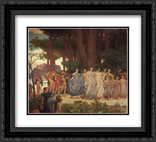The Daphnephoria [detail: left] 22x20 Black or Gold Ornate Framed and Double Matted Art Print by Frederic Leighton