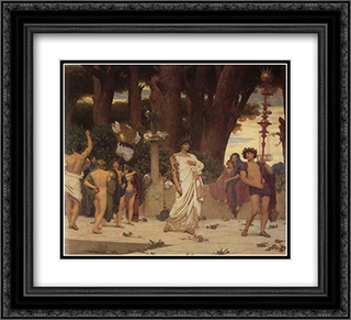 The Daphnephoria [detail: right] 22x20 Black or Gold Ornate Framed and Double Matted Art Print by Frederic Leighton