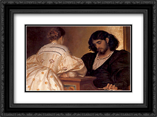 The Golden Hours 24x18 Black or Gold Ornate Framed and Double Matted Art Print by Frederic Leighton