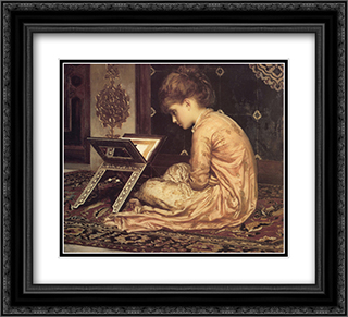 Study: At a Reading Desk 22x20 Black or Gold Ornate Framed and Double Matted Art Print by Frederic Leighton