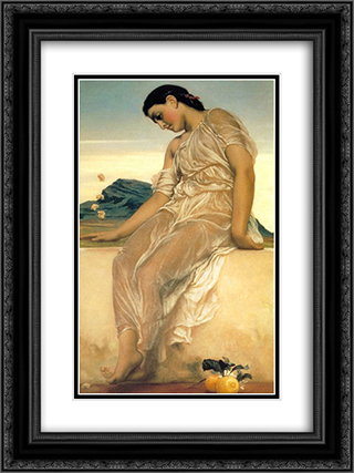 Girl 18x24 Black or Gold Ornate Framed and Double Matted Art Print by Frederic Leighton