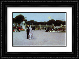 In the Luxembourg Gardens 24x18 Black or Gold Ornate Framed and Double Matted Art Print by John Singer Sargent