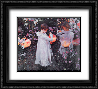 Carnation, Lily, Lily, Rose 22x20 Black or Gold Ornate Framed and Double Matted Art Print by John Singer Sargent